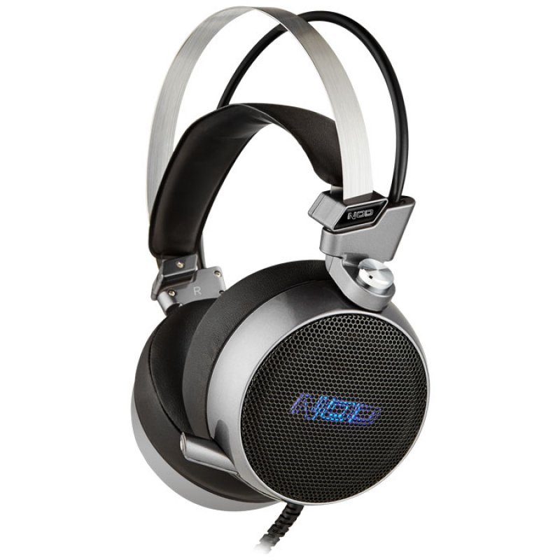 Gaming headset με retractable μικρόφωνο, σε gunmetal grey χρώμα και μπλε LED φωτισμό NOD G-HDS-003