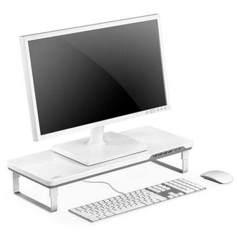 Επιτραπέζια βάση για οθόνη, με 4 θύρες USB και 3,5mm jack για ακουστικά και μικρόφωνο DEEPCOOL M-DESK F1 GREY