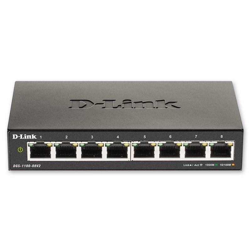 D-Link DGS-1100-08V2 Switch 8 Θέσεων Ιδανικό Για την Επέκταση Δικτύου Επιχειρήσεων