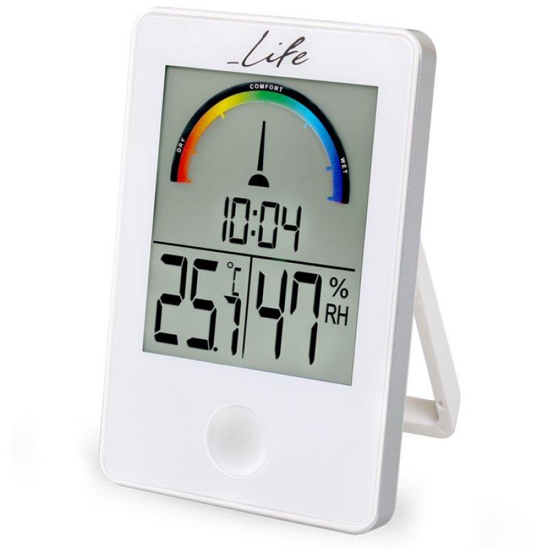 Life iTemp Ψηφιακό Θερμόμετρο/Υγρόμετρο Εσωτερικού Χώρου Με Ρολόι Σε Λευκό Χρώμα