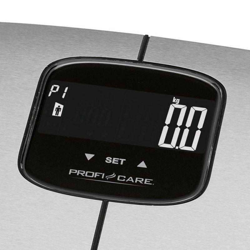 Proficare Ανοξείδωτη ηλεκτρονική ζυγαριά μπάνιου με λιπομέτρηση, 7 σε 1.