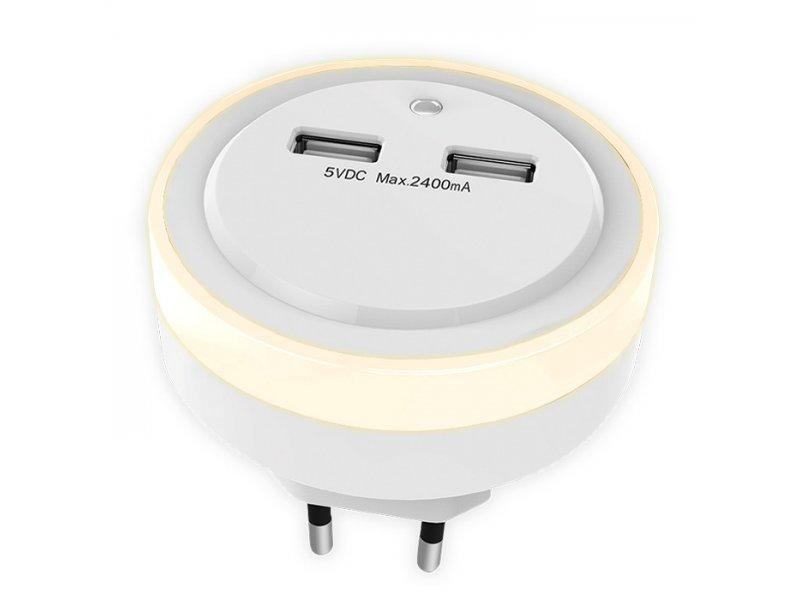 Sonora Ring Light Φωτάκι Νυκτός Led Με Δύο Θύρες Φορτισης USB