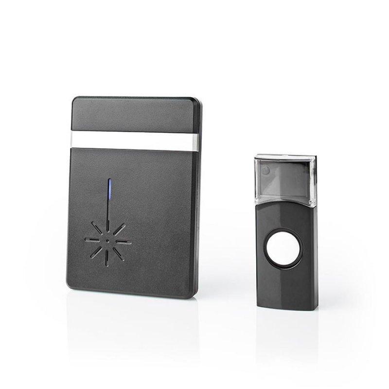 Ασύρματο κουδούνι με LED ένδειξη και δυνατότητα αυξομείωσης της έντασης NEDIS DOORB212BK