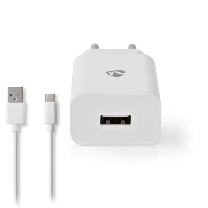 Nedis WCHAC242AWT Universal Φορτιστής USB 2.4 A, Με Αποσπώμενο Καλώδιο USB Type-C,