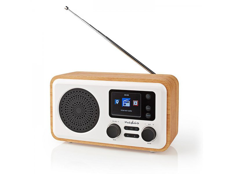 Nedis RDIN2000WT Internet, DAB+ και FM ραδιόφωνο με λειτουργία Bluetooth Ξύλινο  7W.