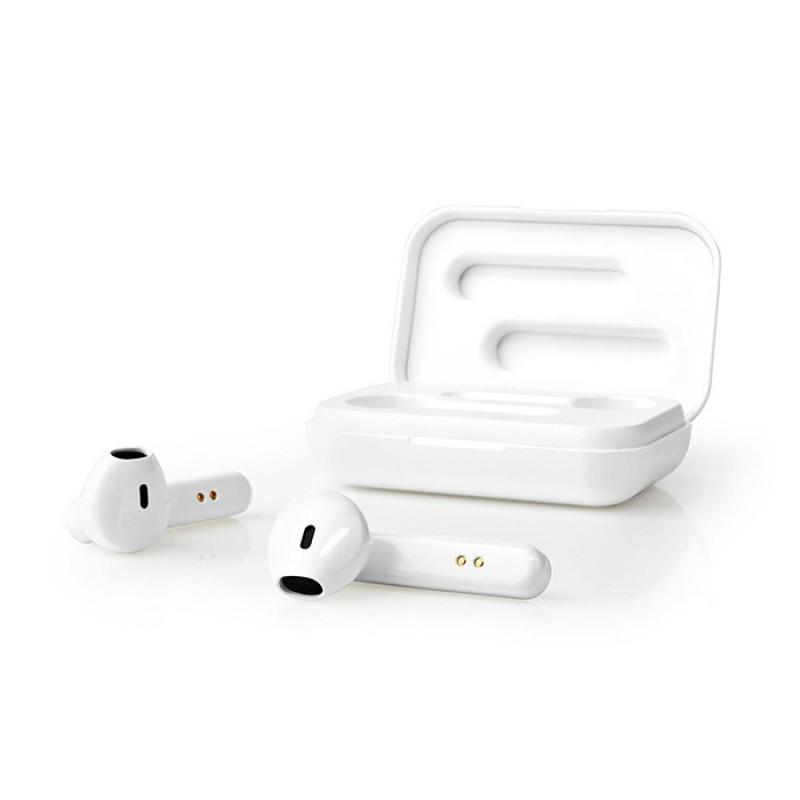 233-2023 Nedis Bluetooth Ακουστικά Handsfree Με Θήκη Φόρτισης Σε Λευκό Χρώμα