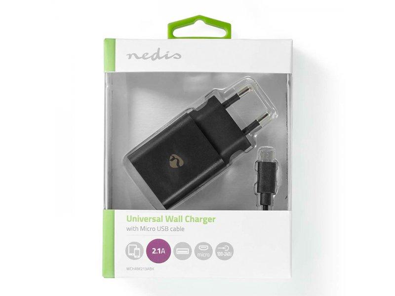 NEDIS WCHAM213ABK Universal Φορτιστής Usb 2.1A Με Αποσπώμενο Καλώδιο Micro Usb