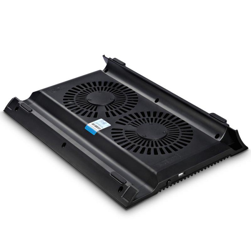 """Notebook cooler N8 Black με 2 ανεμιστήρες για laptop έως 17.3"""""""