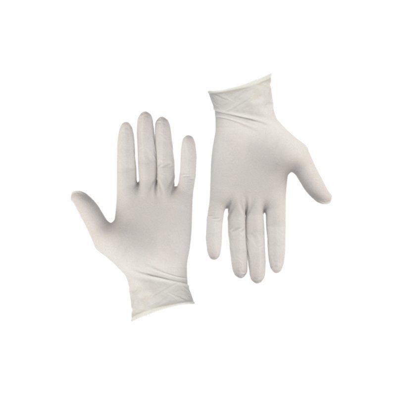 Σετ 100τεμ γάντια Λάτεξ ελαφρώς πουδραρισμένα Λευκά LARGE