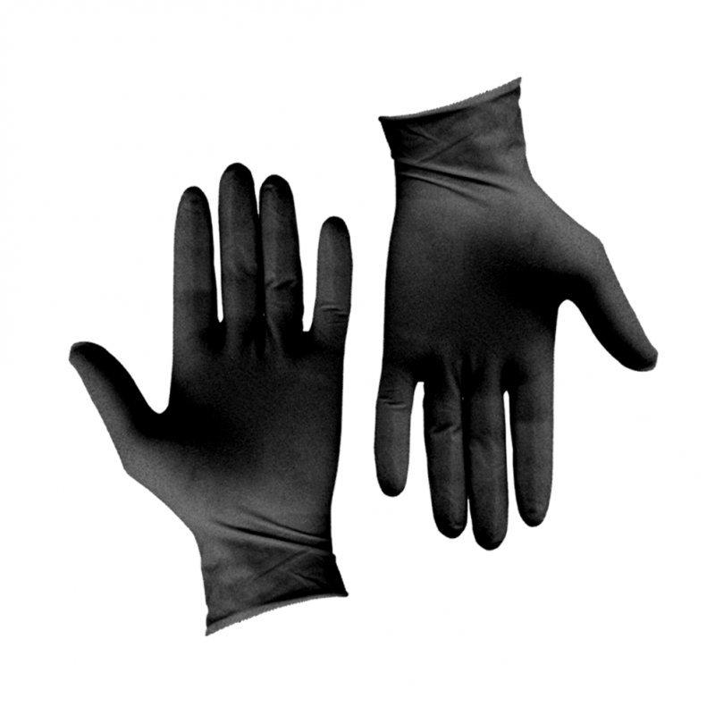 Σετ 100τεμ γάντια Λάτεξ μεγάλης αντοχής, χωρίς πούδρα, μαύρα, LARGE
