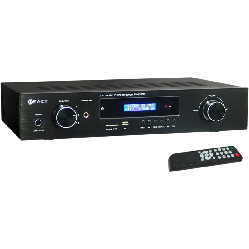 REACT AV-1305R Στερεοφωνικός ραδιοενισχυτής με τηλεχειριστήριο και εισόδους SD/USB/Bluetooth.