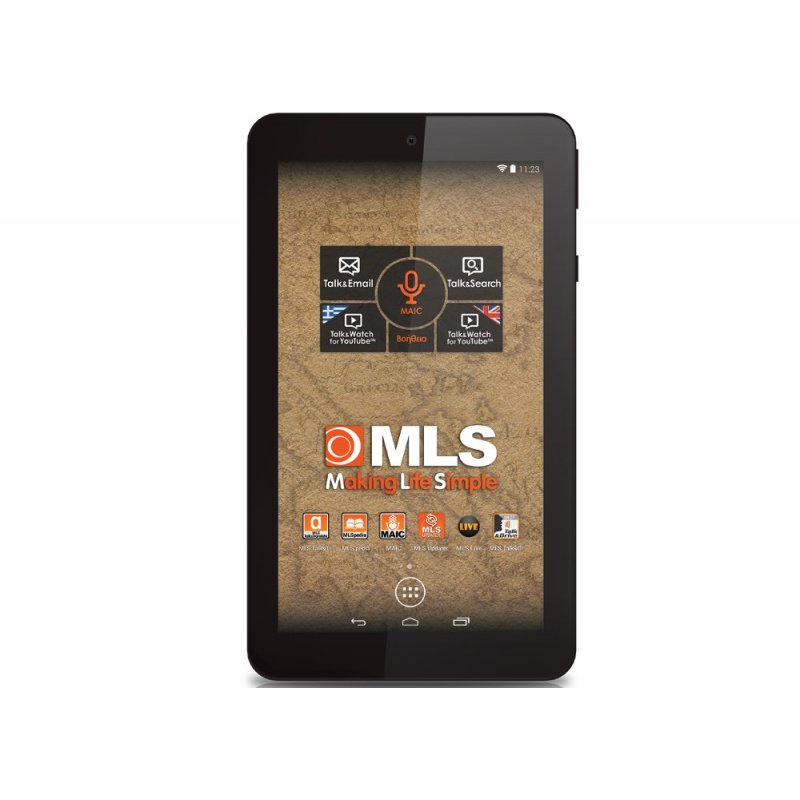 "MLS iQTab Atlas Black Tablet με οθόνη IPS 7"", τετραπύρηνο επεξεργαστή και δώρο Car Kit (βάση στήριξης, φορτιστής αυτοκινήτου, καλώδιο microUSB)"