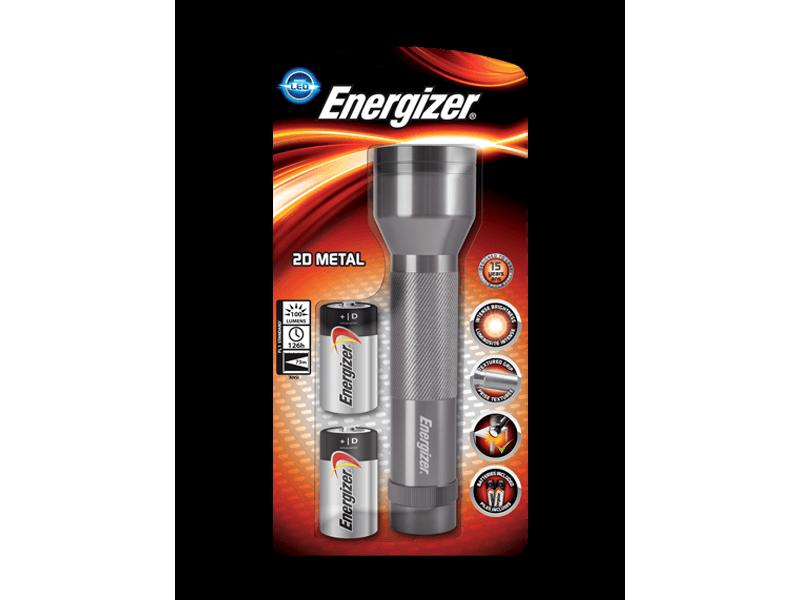 Φακός χειρός Energizer Metal & 2xD με 3 LED και φωτεινότητα 100 lumens.