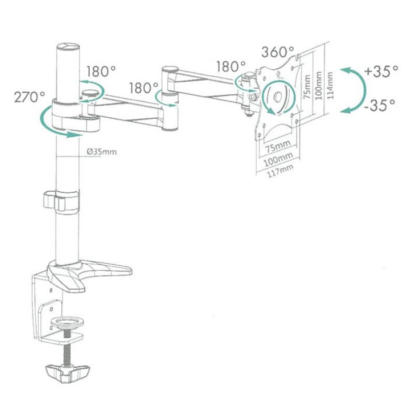 Icy Box IB-MS403-T Επιτραπέζια Μεταλλική Βάση Στήριξης Για 1 Οθόνη Εως 27''