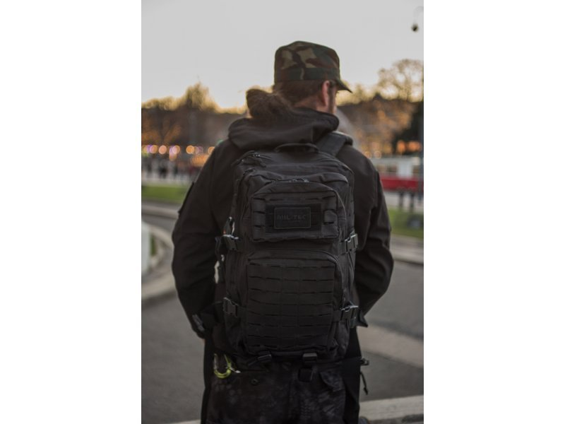 MIL-TEC Σακίδιο Πλάτης Μαύρο 36L US Black Laser Cut Assault Backpack LG 14002702