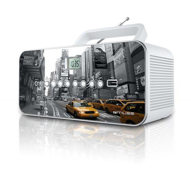 Φορητό ράδιο/cd player Muse M-28NY με υποδοχή Usb και Αux in είσοδο και σχέδιο τη πόλη της Νέας Υόρκης
