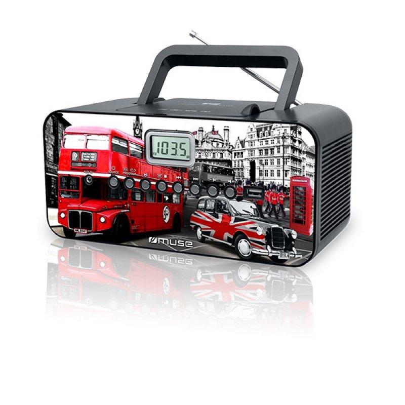Φορητό ράδιο/cd player Muse M-28LD με υποδοχή Usb και Αux in είσοδο και σχέδιο τη πόλη του Λονδίνου