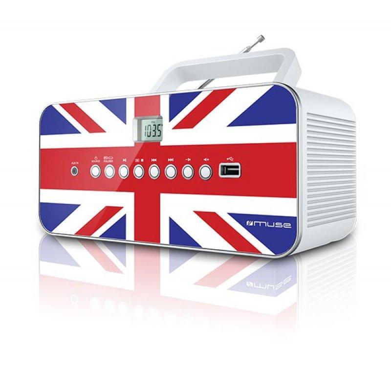 Φορητό ράδιο/cd player Muse M-28UK με υποδοχή Usb και Αux in είσοδο και σχέδιο τη σημαία της Αγγλίας