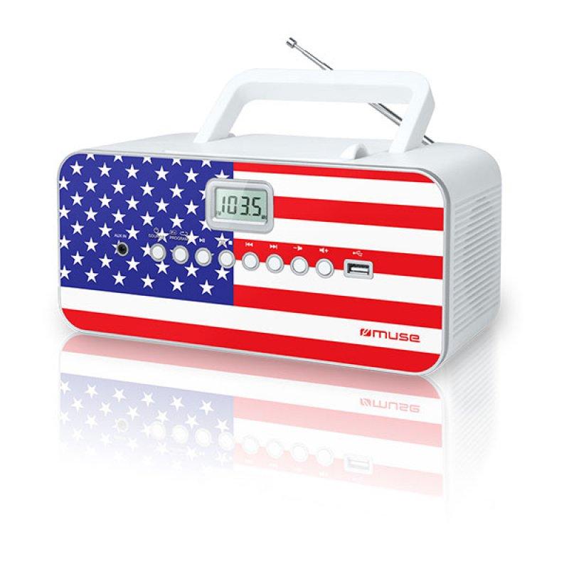 Φορητό ράδιο/cd player Muse M-28UK με υποδοχή Usb και Αux in είσοδο και σχέδιο τη σημαία της Αμερικής