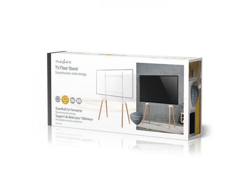 Nedis TVSM7250WT Επιδαπέδια Βάση Για Τηλεοράσεις 60-75''  Σε Λευκό Και Ξύλινο Χρώμα