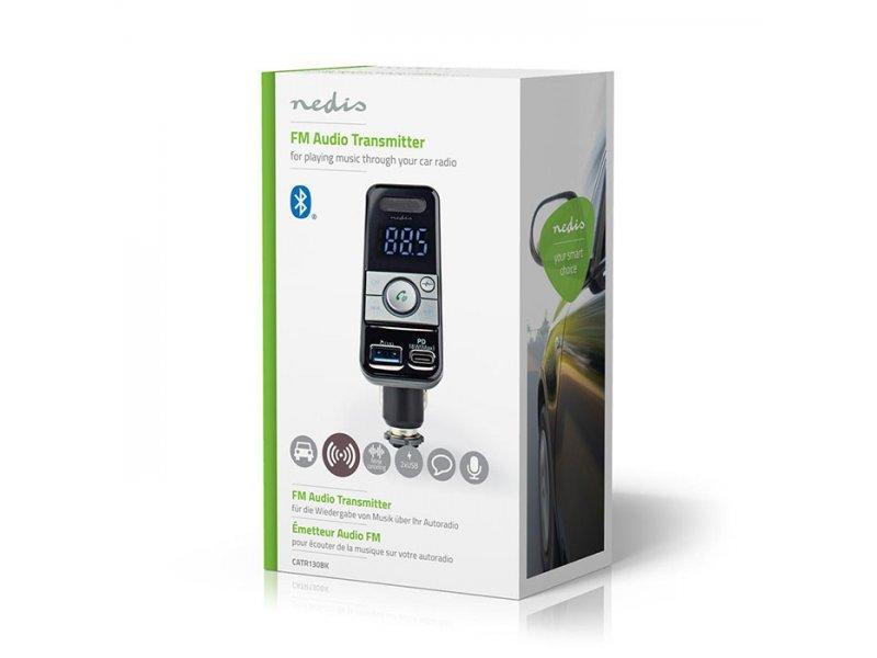 NEDIS CATR130BK 3 Σε 1 Bluetooth Αναμεταδότης Fm,Hands Free Και Φορτιστής Με Λειτουργία Φωνητικού Ελέγχου