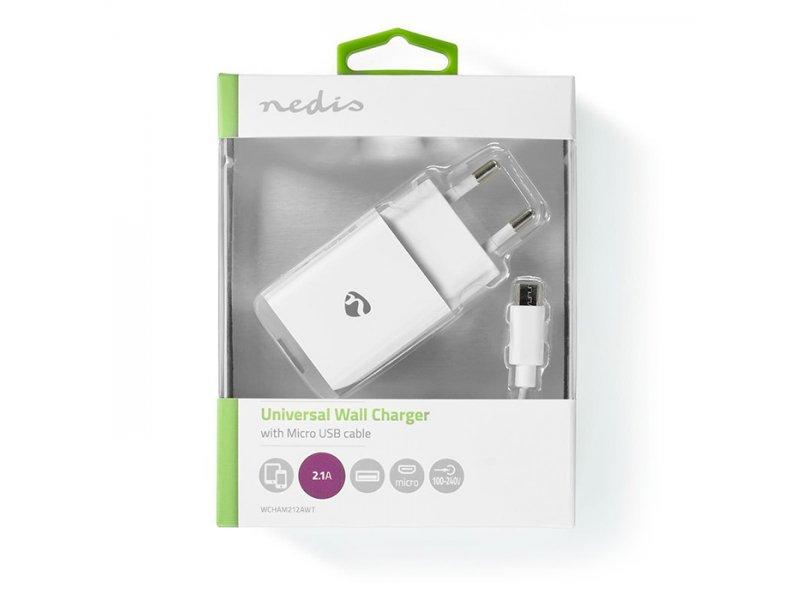 Nedis WCHAM212AWT Universal Φορτιστής USB 2.1 A, Με Αποσπώμενο Καλώδιο Micro USB