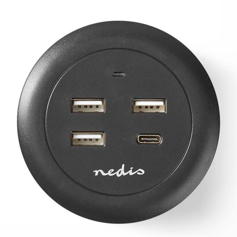 Nedis FSCSPD100BK Universal Επιτραπέζιος Φορτιστής Με 4 Εξόδους (1x USB-C & 3x USB-A), 3.0A