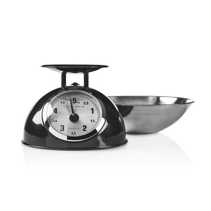 Αναλογική ζυγαριά κουζίνας, τύπου ρετρό, σε μαύρο μεταλλικό χρώμα.