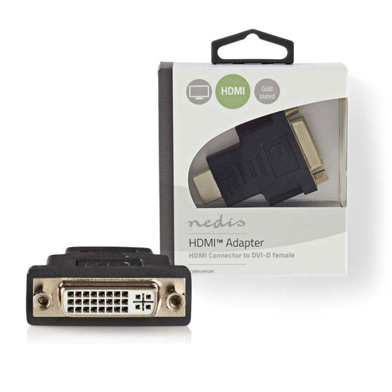 Αντάπτορας DVI-D θηλ. σε  HDMI αρσ. με επίχρυσες επαφές.