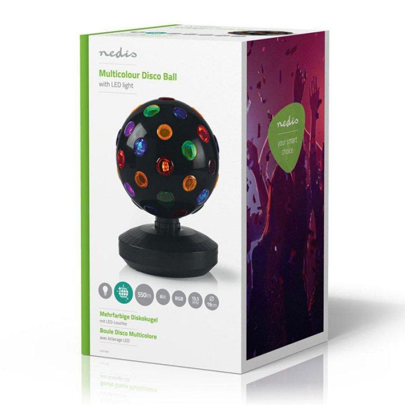 Πολύχρωμη περιστρεφόμενη disco ball, 19 cm, με βάση.
