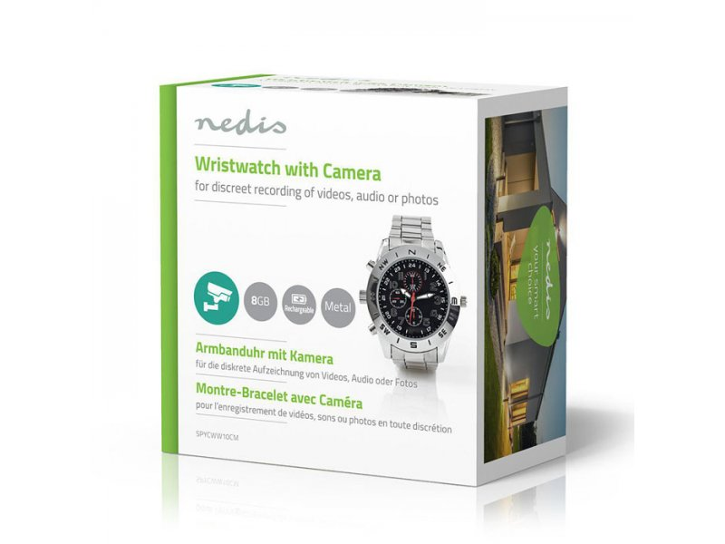 Ρολόι με ενσωματωμένη κρυφή κάμερα 1.3MP για καταγραφή video ή φωτογραφιών,με μνήμη 8GB.