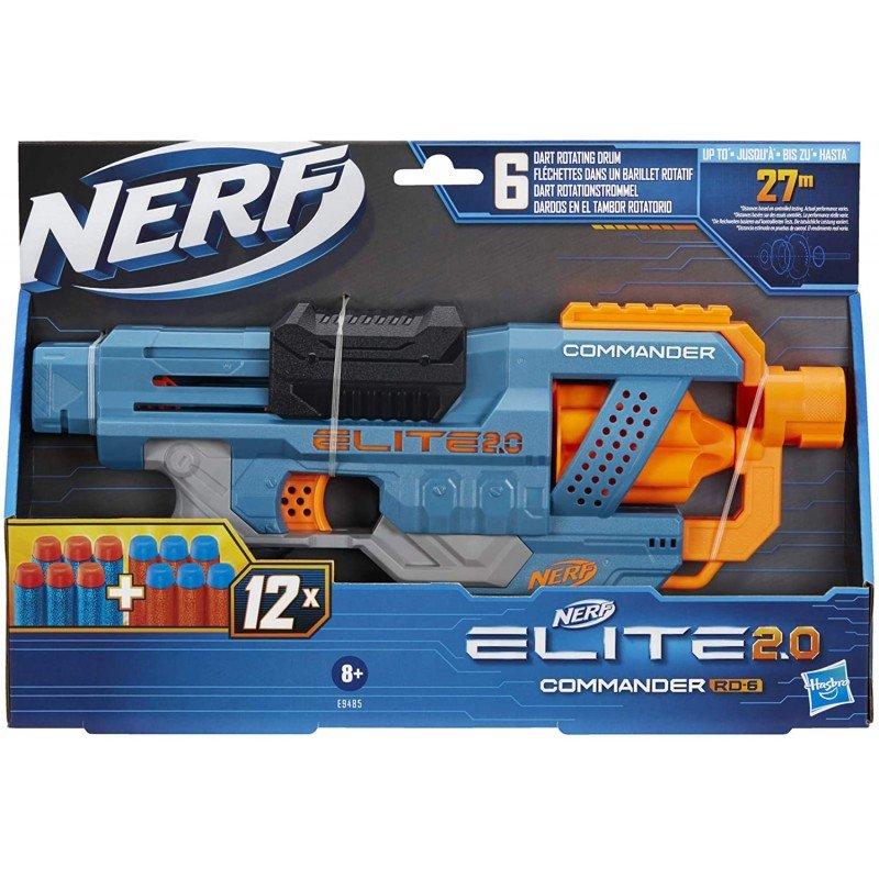 Nerf Elite 2.0 Commander Rd-6 Εκτοξευτής,12 Βελάκια Nerf,Περιστρεφόμενος Μύλος Για 6 Βελάκια (Ε 9485)