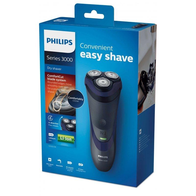 Ξυριστική Μηχανή πλενόμενη επαναφοριζόμενη/ρεύματος Philips S3120/06 με Σύστημα Λεπίδων ComfortCut