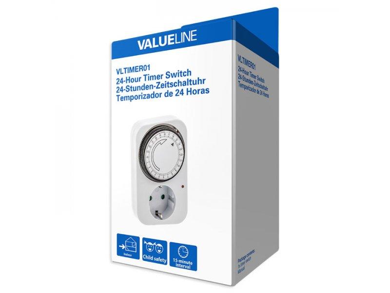 Ημερήσιος αναλογικός χρονοδιακόπτης 24 ωρών, εσωτερικής χρήσης για να μπορείτε να ρυθμίζετε τη λειτουργία οποιασδήποτε συσκευής