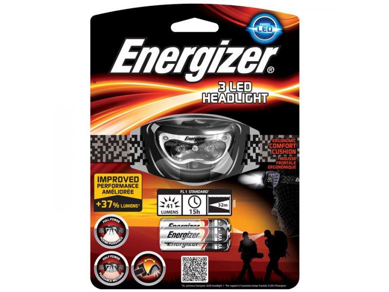 Φακός κεφαλής Energizer Headlight 3AAA με 3 LED και φωτεινότητα 33 lumens.