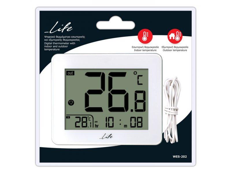 Ψηφιακό Θερμόμετρο εσωτερικής και εξωτερικής θερμοκρασίας με εξωτερικό αισθητήρα και ένδειξη ώρας