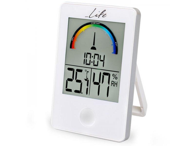 Ψηφιακό Θερμόμετρο/Υγρόμετρο με ρολόι και έγχρωμη απεικόνιση επιπέδου υγρασίας σε λευκό χρώμα