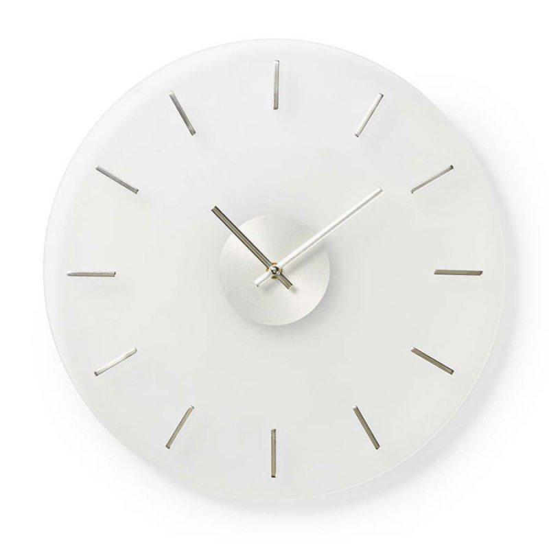 Ρολόι τοίχου από γυαλί, με inox δείκτες