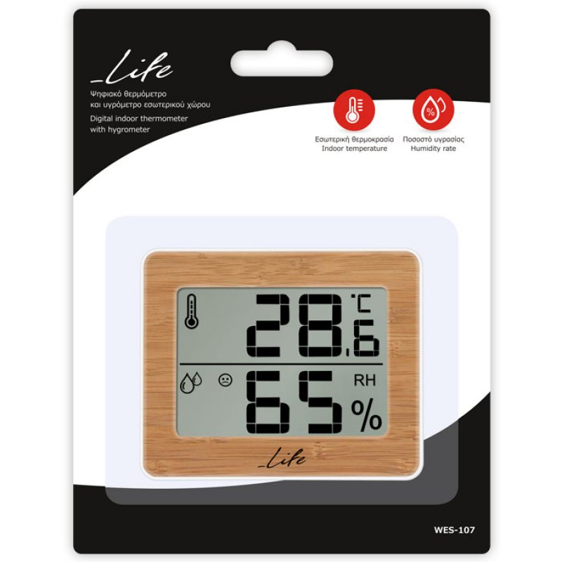 Life WES-107 Θερμόμετρο/Υγρόμετρο εσωτερικού χώρου με bamboo πρόσοψη