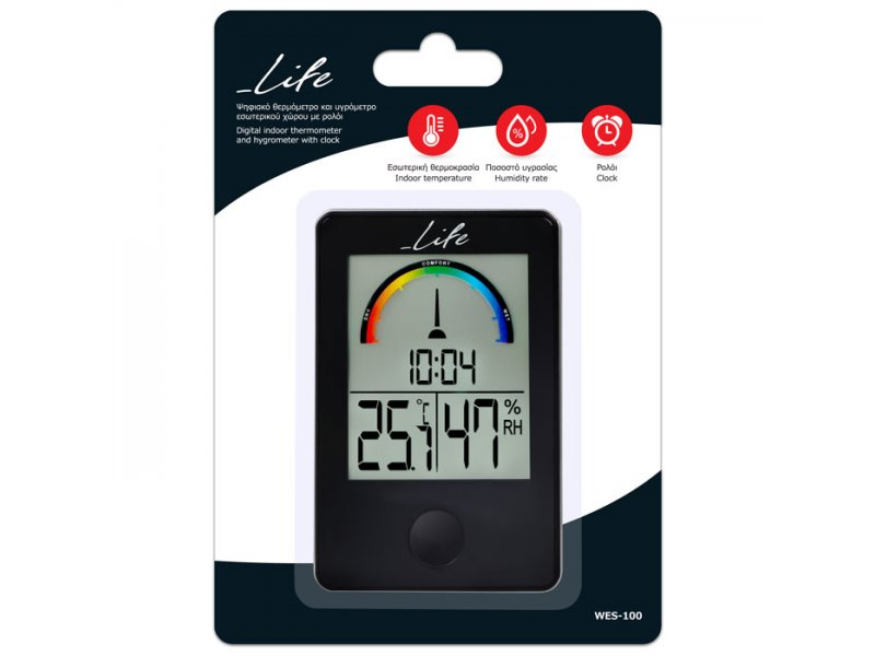 Ψηφιακό Θερμόμετρο/Υγρόμετρο με ρολόι και έγχρωμη απεικόνιση επιπέδου υγρασίας