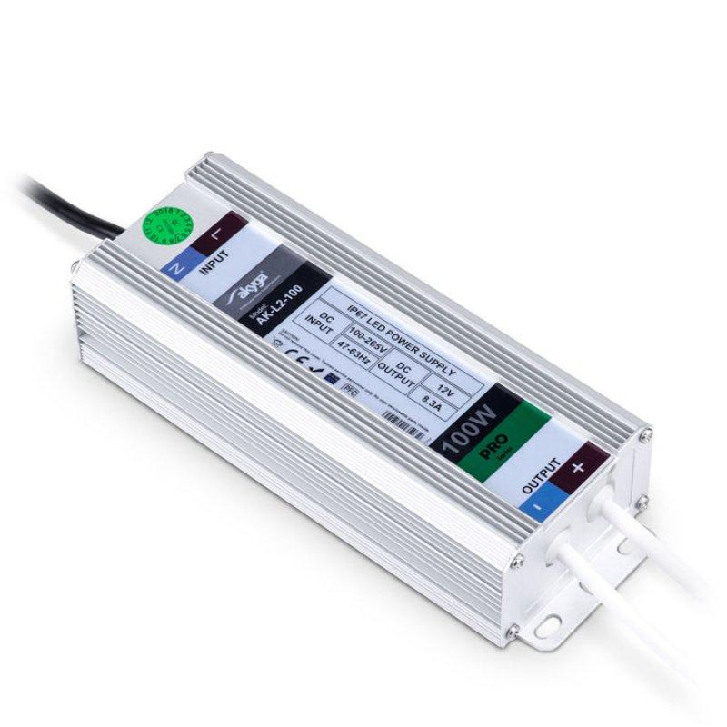 Akyga  Τροφοδοτικό 12V 100 W, με στεγανότητα IP67 για LED και άλλες εφαρμογές