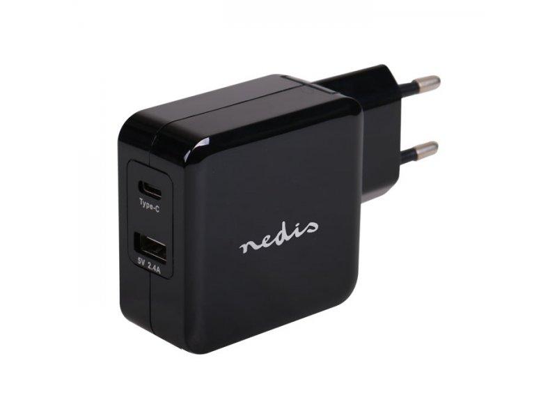 Nedis Universal φορτιστής με δύο εξόδους, 1 x USB Α και 1 x USB type-C, 4.8 A, σε μαύρο χρώμα