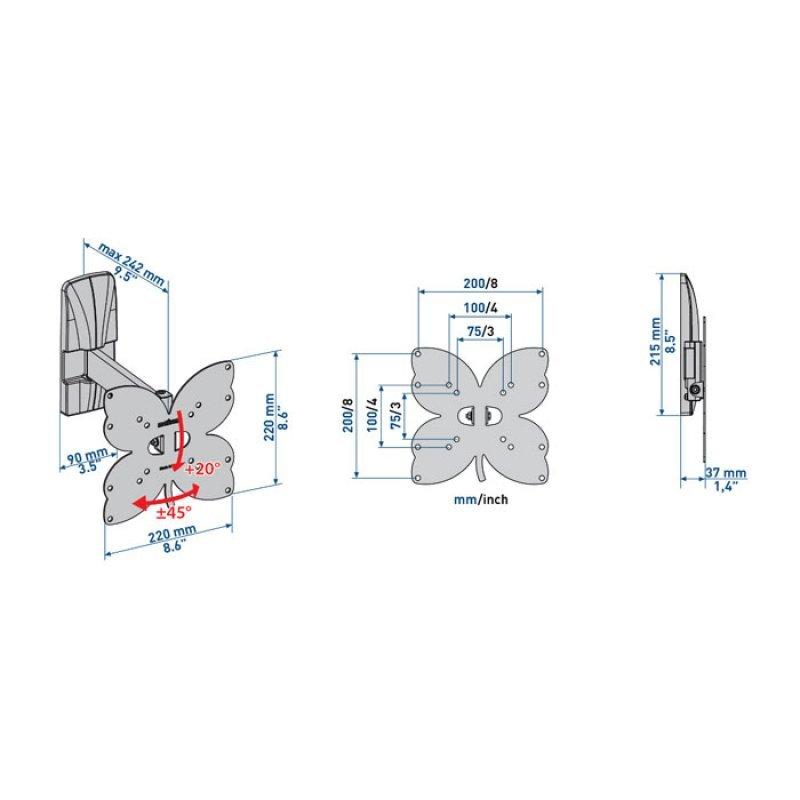"Meliconi Επιτοίχια βάση στήριξης με 2 βραχίονες για τηλεοράσεις LED/LCD από 26"" έως 40"""