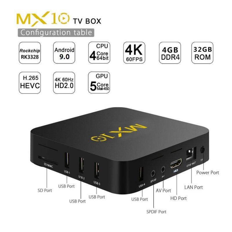 TV Box MX10 Android 9.0 New RK3328 4GB Ram DDR4 32GB Rom KODI 18.2 Netflix-Kodi με Ελληνικό μενού