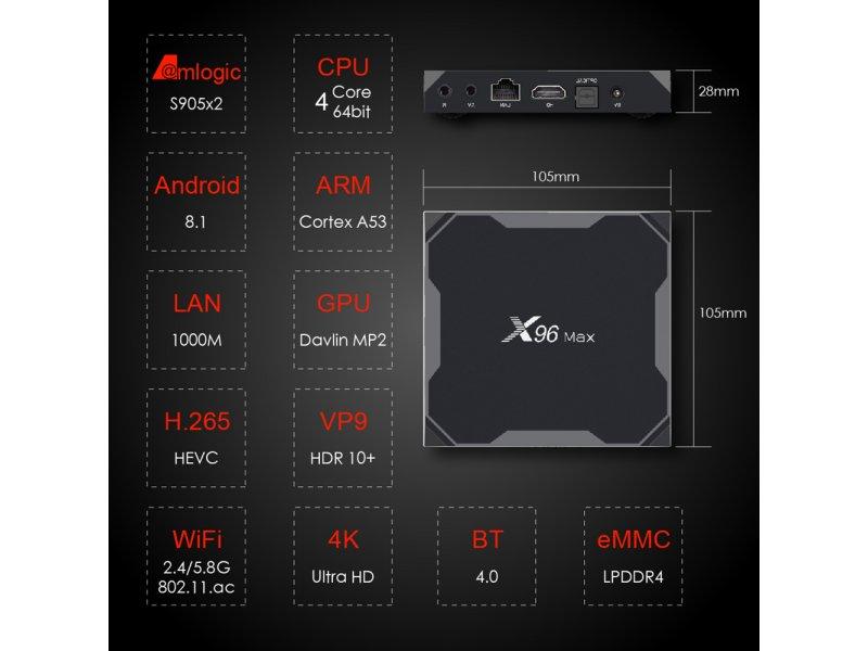 X 96 Max Amlogic S905X3 4GB Ram 64GB Rom Bluetooth 2,4 GHz-5,0GHz Wi-Fi Kodi 18.9 Netflix
