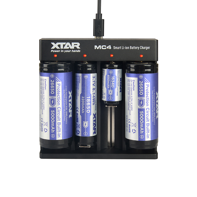 Φορτιστής μπαταριών τετραπλός XTAR MC4 Plus για 10440/14500/14650/16340/17335/17500/17670/18350/18490/18500/18650/18700/22650/25500/26650