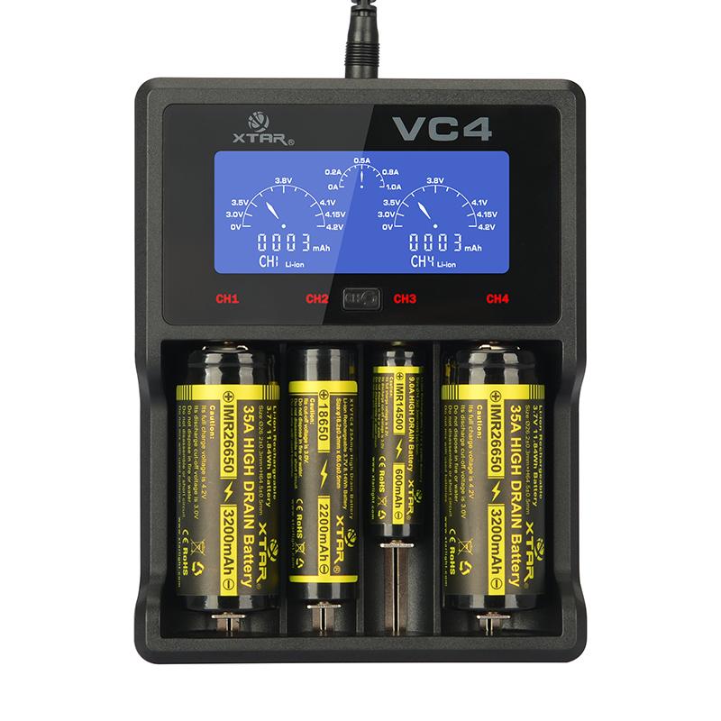 Φορτιστής μπαταριών τετραπλός XTAR VC4 για 10440/14500/14650/16340/17500/17670/18350/18490/18500/18650/18700/22650/25500/26650/32650 3.6V/3.7V Li-ion, ΑΑΑΑ/AAA/A/A/SC/C/D