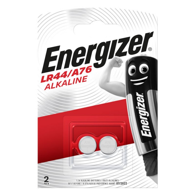 Αλκαλικές μπαταρίες Energizer A76/LR44 1.5V σε blister με 2 μπαταρίες.