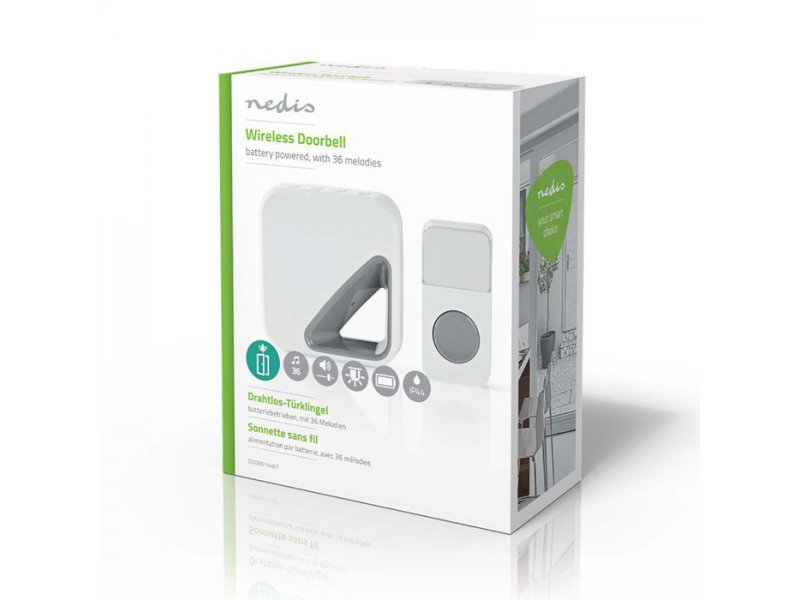Ασύρματο φορητό κουδούνι με LED ένδειξη και δυνατότητα αυξομείωσης της έντασης του κουδουνιού, 85dB.