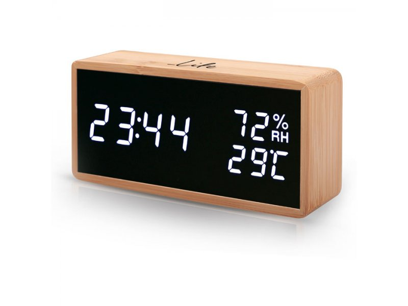 Bamboo ψηφιακό θερμόμετρο/υγρόμετρο εσωτερικού χώρου, με ρολόι, ξυπνητήρι και ημερολόγιο.